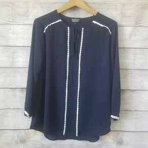 Papermoon Stitch Fix Long Sleeve Navy Blouse Large